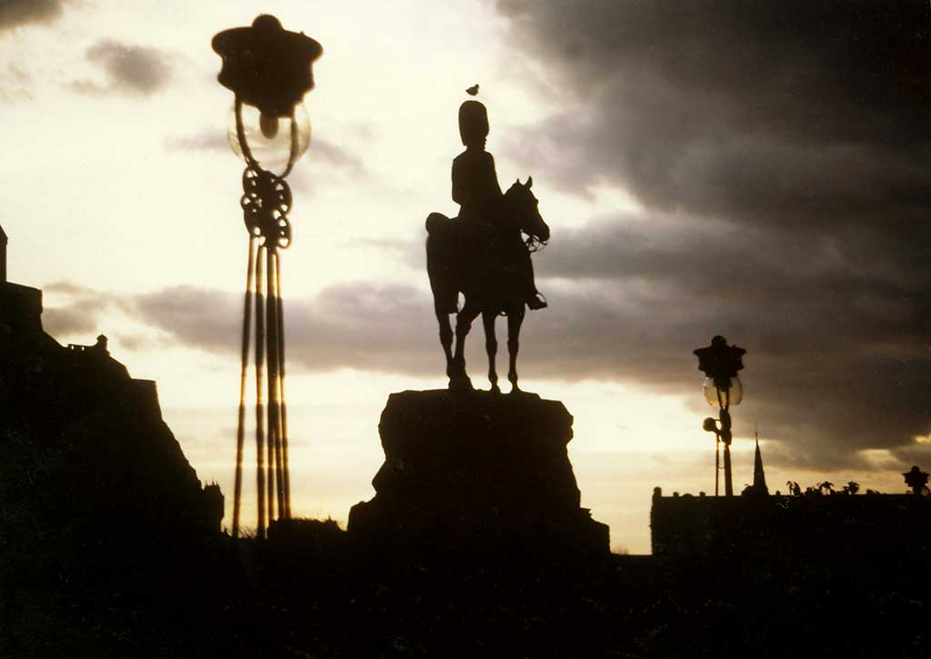 Royal Scots Greys' memorial statue  -  West Princes Street Gardens  -  Autumn 1978