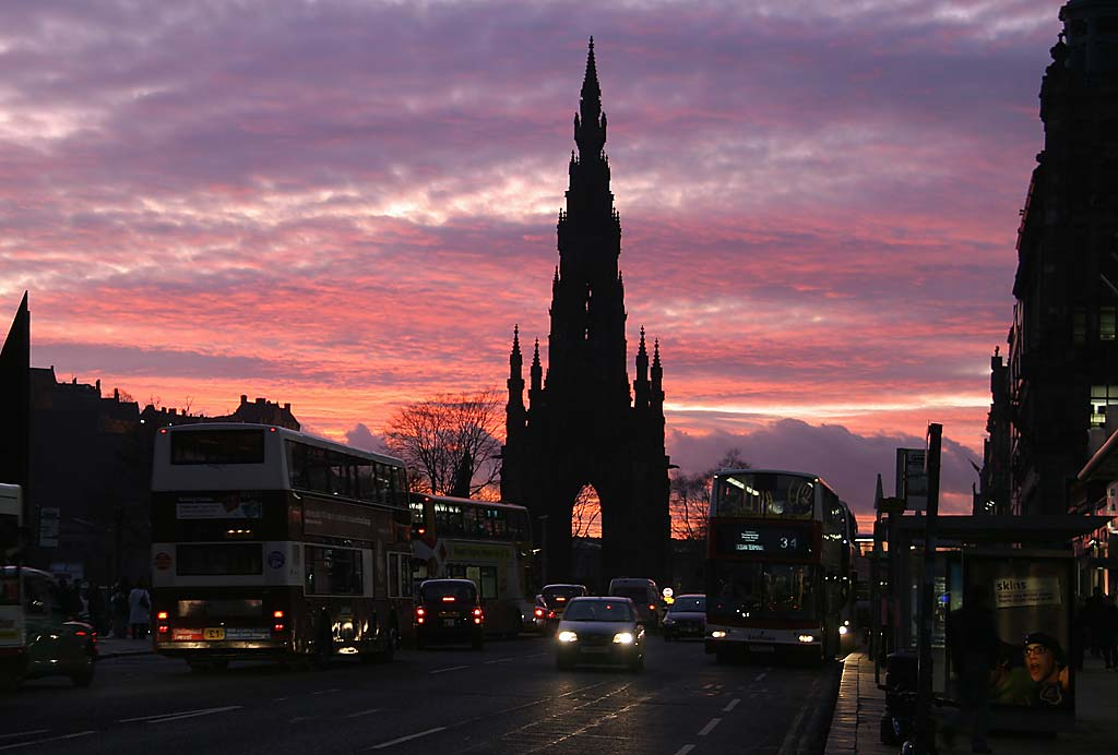 The Scott Monument from the East End of Princes Street  -  4.50pm on January 26, 2007