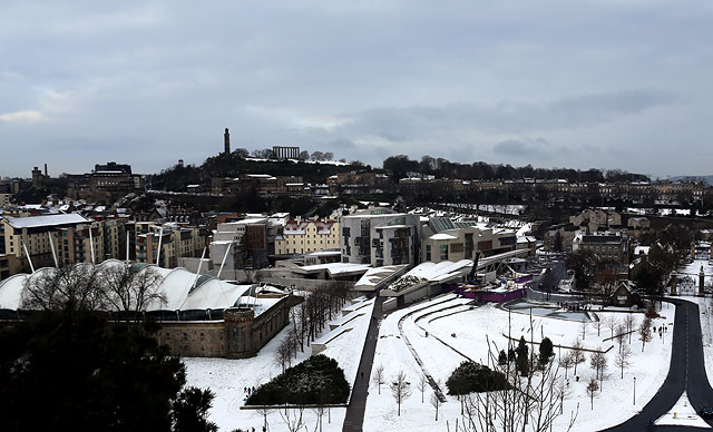 The Scottish Parliament Building  -  with Calton Hill in the background  -  January 2013