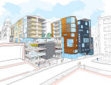 Proposed SoCo development on the site of the Old Town Fire  -  View of the Cowgate facade from the NE
