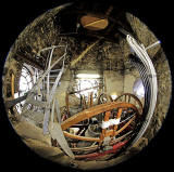 Fisheye View:  Bells, Bell Wheels, Clock Faces, Ladder and Staircase, in the tower of St Andrew's and St George's West Church, George Street, Edinburgh