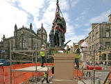 Installation of Statue of Adam Smith, beside the Mercat Cross in the Royal Mile  -  June 30, 2008