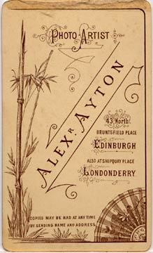 Alex Ayton jun  -  Carte de Visite  -  No 8  -  back