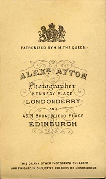 Alex Ayton jun  -  Carte de Visite  -  No 10  -  back