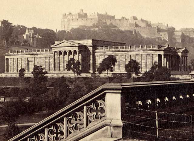 Detail from a Carte de Visite view of Edinburgh Castle and the National Gallery of Scotland by Archibald Burns