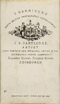 J B Cartlidge  -  Back of Photo 1