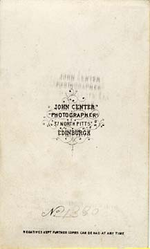 Carte de Visite by John Center  -  5 (back)