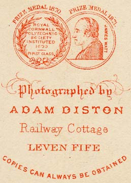 Detail from the back of a carte de visite depicting medals awarded to Adam Diston
