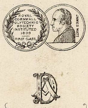 Zoom-in to the back of a carte de visite depicting two medals awarded to Adam Diston