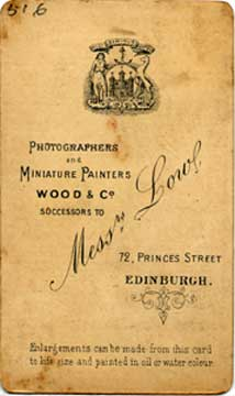 Carte de Visite (back)  -  Photographer: Wood & Co
