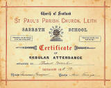 Church of Scotland abbath School  -  Certificate of Reular Attendance, 1918-19