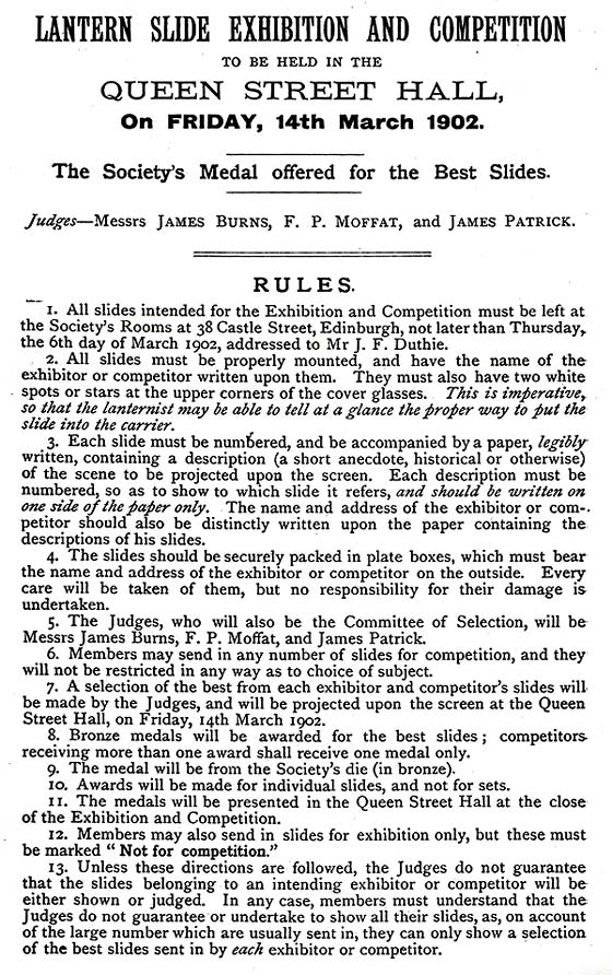 Announcement and Rules for Lantern Slide Exhibition and Competition to be held in March 1902