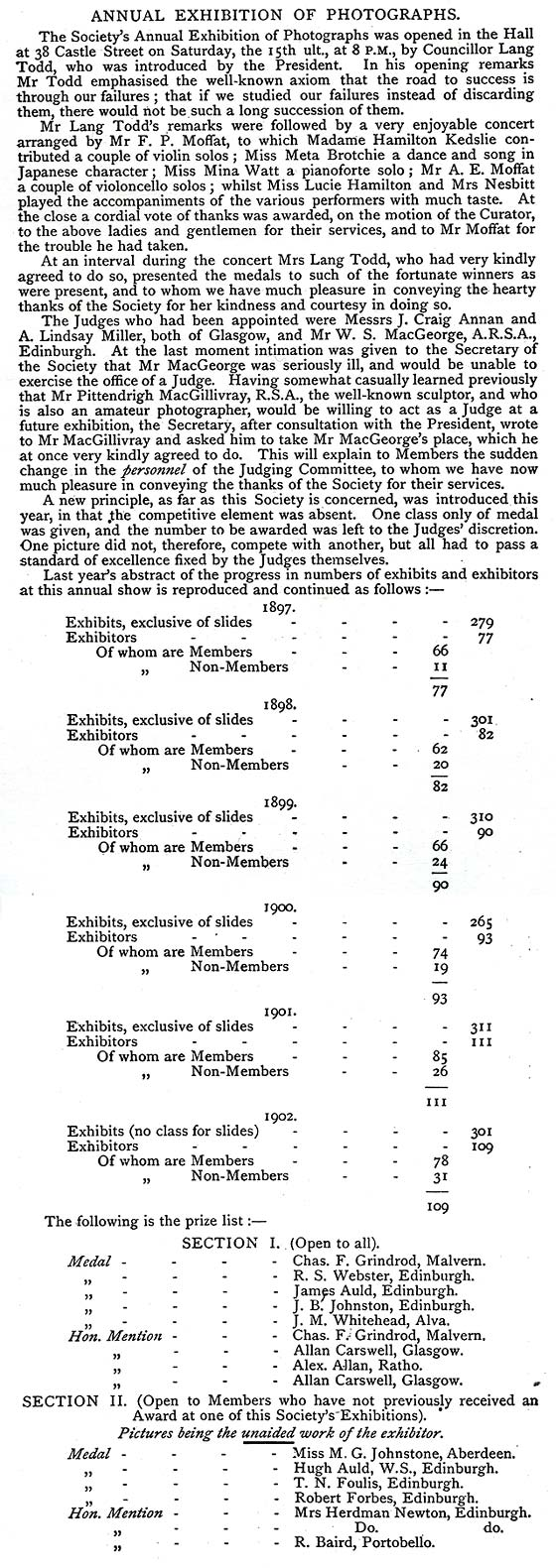 Report of the EPS Exhibition held in February 1902, including numbers for some previous years' exhibitions