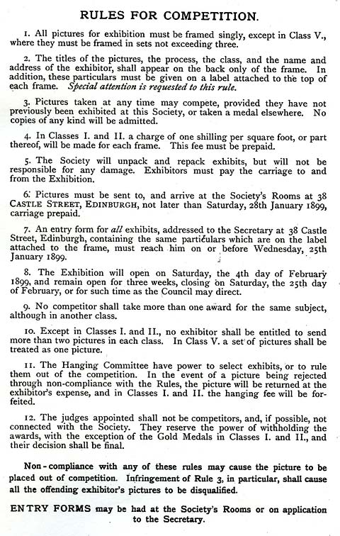 EPS Exhibition - February 1899  -  Rules