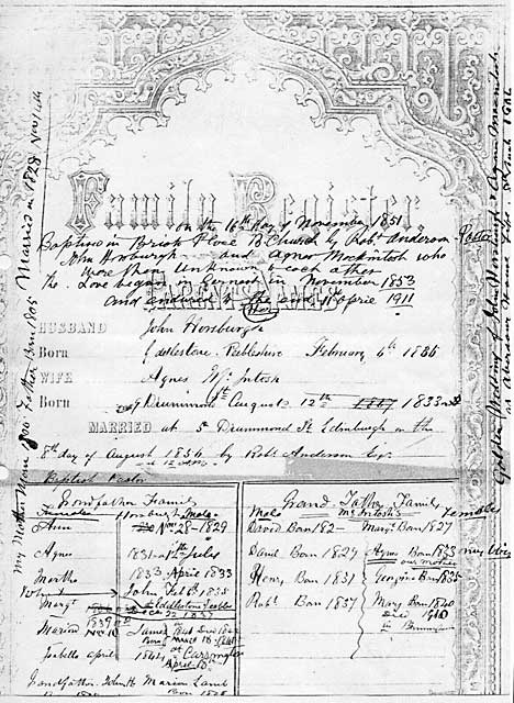A page from the Family Register in John Horsburgh's family Bible  -  Details of the marriage between John Horsburgh and Agnes McIntosh