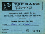 Top Rank Club Membership Card, 1963