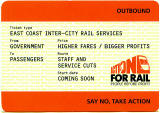 Campaign document in the style of a large railway ticket