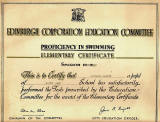 Edinburgh Corporation Education Department Swimming Certificate, awarded to Richard Martin, 1947-48
