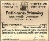 Edinburgh Corporation Education Department Swimming Certificate, awarded to Richard Martin, 1948-49