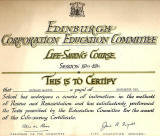 Edinburgh Corporation Education Department Swimming Certificate, awarded to Richard Martin, 1949-50