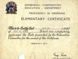 Edinburgh Corporation Education Department Swimming Certificate, awarded to Alan Fentiman, 1961-62
