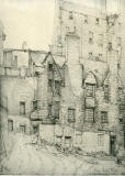 Old Houses in Edinburgh  -  Drawing by Bruce J Home  -  Lady Stair's Close