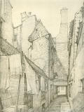 Old Houses in Edinburgh  -  Drawing by Bruce J Home  -  Brown's Court