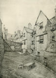 Old Houses in Edinburgh  -  Drawing by Bruce J Home  -  Back of Bakehouse Close