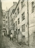 Old Houses in Edinburgh  -  Drawing by Bruce J Home  -  Carruber's Close