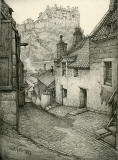 Old Houses in Edinburgh  -  Drawing by Bruce J Home  -  Baird's Close, looking north