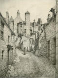 Old Houses in Edinburgh  -  Drawing by Bruce J Home  -  Baird's Close, looking south