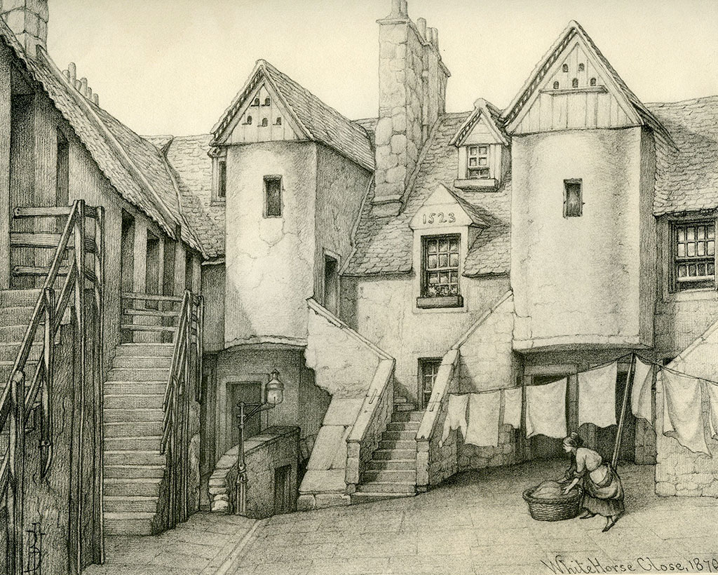 Old houses of edinburgh drawings by bruce j home for Classic house edinburgh