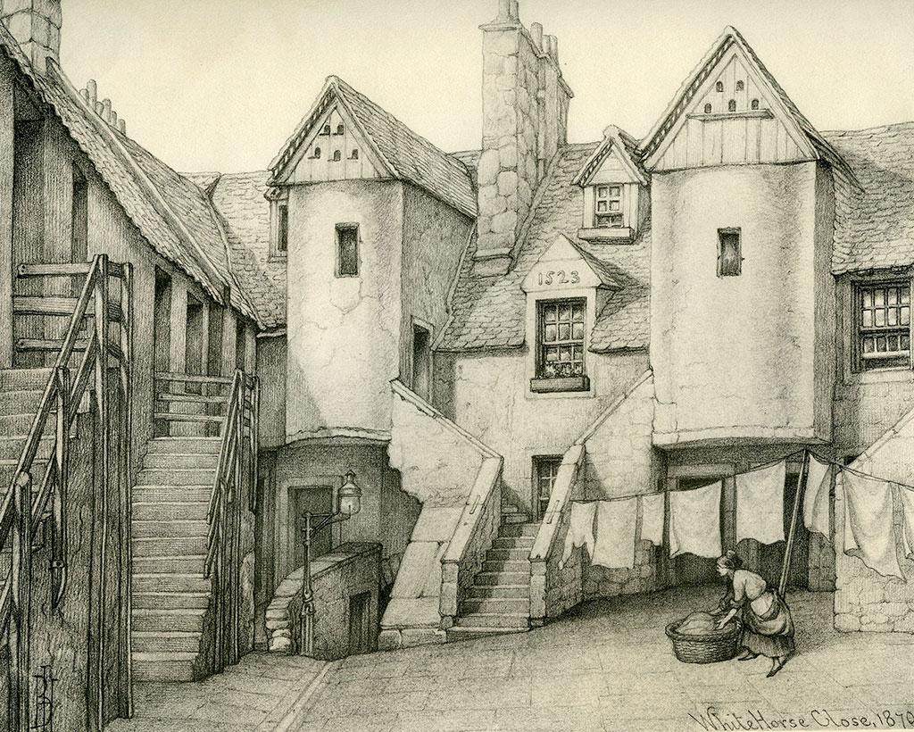 Old houses of edinburgh drawings by bruce j home for Classic house edinburgh