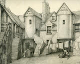 Old Houses in Edinburgh  -  Drawing by Bruce J Home  - Whitehorse Close