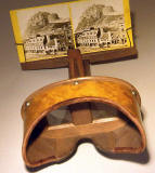 Stereoscope and stereo card - view of Grassmarket and Edinburgh Castle