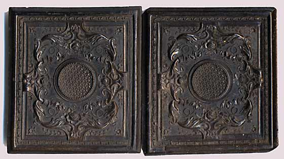 Union Case designed to hold an ambroype photo - Outside, showing the front and back of the opened hinged case