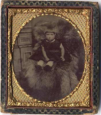 Tintype Photo of Young Girl  -  framed