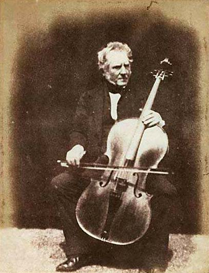 Photograph from Edinburgh Calotype Club album -  Volume 2, Page 31  -  Hugh Lyon Playfair with Cello