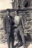 Ian Ferri and Charlie Burns, dressed in 1950s fashions