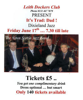 Poster  -  Jazz Evening at Leith Dockers Club  -  June 17, 2011