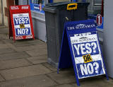 Photos taken in Edinburgh on voting day in the  Scottish Indepemdence Referendum on 18 September 2014  -  Newspaper Placard