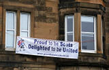 Photos taken in Edinburgh on voting day in the  Scottish Indepemdence Referendum on 18 September 2014  -  'Yes' Campaign Banner at Dalkeith Road