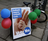 Photos taken in Edinburgh on voting day in the  Scottish Indepemdence Referendum on 18 September 2014  -  'Yes' Campaign