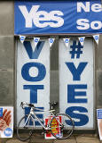 Photos taken in Edinburgh on voting day in the  Scottish Indepemdence Referendum on 18 September 2014  -  'Yes' Campaign Poster at Southside