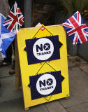 Photos taken in Edinburgh on voting day in the  Scottish Indepemdence Referendum on 18 September 2014  -  'No' Campaign