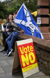 Photos taken in Edinburgh on voting day in the  Scottish Indepemdence Referendum on 18 September 2014  -  'Yes' and  'No' Campaigns