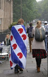 Photos taken in Edinburgh on voting day in the  Scottish Indepemdence Referendum on 18 September 2014  -  Visitors from Frisia
