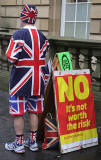Photos taken in Edinburgh on voting day in the  Scottish Indepemdence Referendum on 18 September 2014  -  The Royal Mile