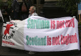 Photos taken in Edinburgh on voting day in the  Scottish Indepemdence Referendum on 18 September 2014  -  Visitor from Sardinia