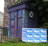 Photos taken in Edinburgh on voting day in the  Scottish Indepemdence Referendum on 18 September 2014  -  Police Box at Drummond Street joins the 'Yes' Campaign